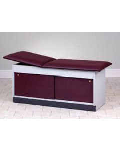 "Clinton Treatment Table with Front Sliding Doors, 30""  W, Natural, Slate Grey, Royal Blue Upholstery"
