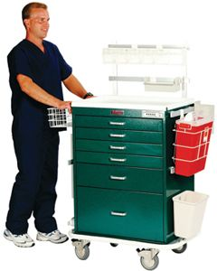 Harloff Classic Anesthesia Cart w/ Outlet, Waste Containers, Tilt Bins, Hammer Green