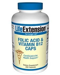 Folic Acid + B12, 200 Caps